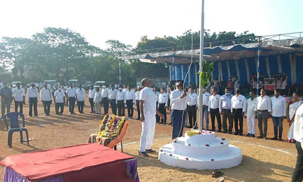 Flag raising by the celebration committee of national festivals